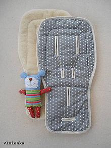 Textil - Hviezdičková podložka do kočíka BUGABOO wool 100% Ovčie rúno Hviezdička šedá - 8048368_