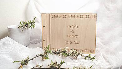 Papiernictvo - Svadobná kniha drevo, papier a koža - 8049265_