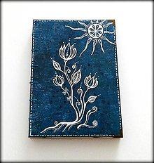 Papiernictvo - Ručne šitý kreslený zápisník/denník/diár ,,Flower dream\