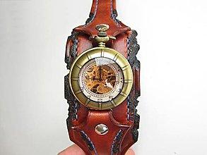 Náramky - Steampunk hodinky, kožený remienok - 8050535_