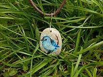 Náhrdelníky - Modrý vtáčik na vetvičke - 8050490_