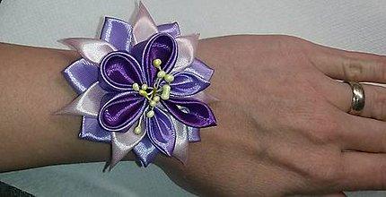 Pierka - Náramok pre družičku fialový kvet - 8047617_