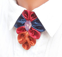 Náhrdelníky - Elegancia a la Chanel - indigo bordó škorica s ozdobným kamienkom - 8047485_