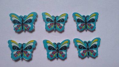 Galantéria - Drevený gombík Motýlik modrý - 8049924_