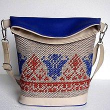 "Veľké tašky - Vyšívaná kabelka ""Škorica a modá"" - 8050123_"