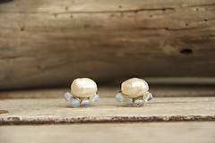 Náušnice - Náušnice napichovačky perla a opalit - 8048383_