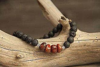 Šperky - Pánsky náramok z minerálu láva a jaspis - 8047511_