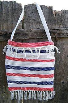 Iné tašky - Tkaná taška bielo-modro-červená - 8047591_