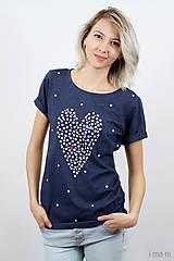 Tričká - Dámske tričko modrý melír BODKOVANÁ - 8049903_