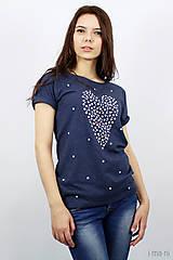 Tričká - Dámske tričko modrý melír BODKOVANÁ - 8049904_