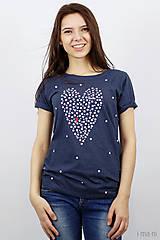Tričká - Dámske tričko modrý melír BODKOVANÁ - 8049912_