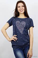Tričká - Dámske tričko modrý melír BODKOVANÁ - 8049917_