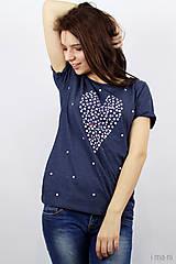Tričká - Dámske tričko modrý melír BODKOVANÁ - 8049923_