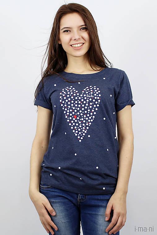 Dámske tričko modrý melír BODKOVANÁ