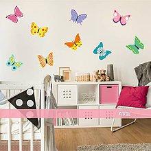 Dekorácie - (3579f) Nálepka na stenu - Farebné motýliky - 8052134_