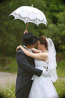 Iné doplnky - Svadobný čipkovavý dáždnik s vejárom - 8052210_