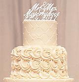 Priezvisko a dátum na svadobnú tortu - písané