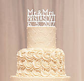 Priezvisko a dátum na svadobnú tortu - tlačené
