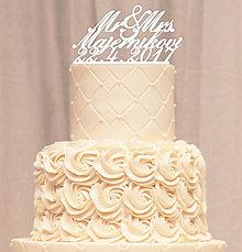 Dekorácie - Priezvisko a dátum na svadobnú tortu - písané (Zlatá) - 8051560_