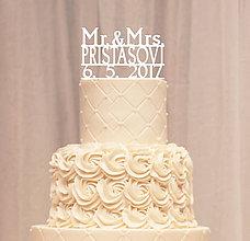 Dekorácie - Priezvisko a dátum na svadobnú tortu - tlačené (Zlatá) - 8051907_