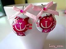 Náušnice - Náušničky mačičky tmavo-ružové :) - 8052264_