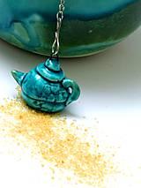 sitko na čaj čajník tyrkysovy