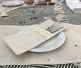 Úžitkový textil - Obal na príbor z ručne tkaného ľanu - 8052632_