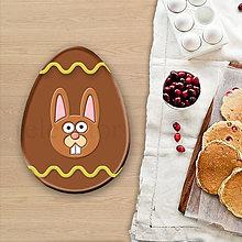 Dekorácie - Grafické čokoládové veľkonočné vajíčko vlnky - veľkonočný zajačik - 8052546_