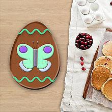 Dekorácie - Grafické čokoládové veľkonočné vajíčko vlnky - motýľ - 8053338_