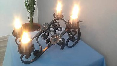 Svietidlá a sviečky - kovový adventný svietnik - 8055126_