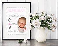 Detské doplnky - Personalizovaný print s údajmi o narodení bábätka A4 - Photo Chevron - 8053833_