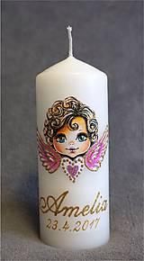 Svietidlá a sviečky - krstová sviečka s anjelikom - ružová - 8055370_