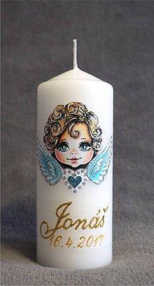 Svietidlá a sviečky - krstová sviečka s anjelikom - modrá - 8055324_