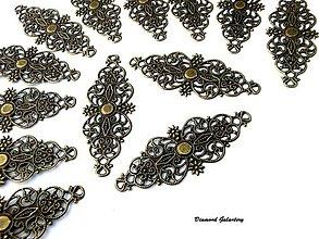 Komponenty - Filigrán 61x24 mm - bronz - 8056435_