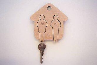 Kľúčenky - Drevená kľúčenka domček - 8056506_