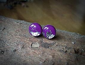 Náušnice - Krúžky 9 mm s kovovým efektom (fialovo strieborné) - 8056868_