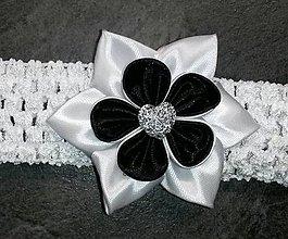 Detské doplnky - Detská elastická čelenka čierno biela - 8055823_
