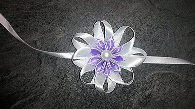 Pierka - Náramok pre družičku fialový kvet - 8056045_
