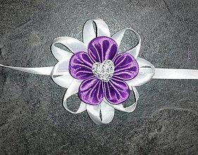 Pierka - Náramok pre družičku fialový kvet - 8056052_