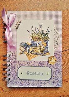 Papiernictvo - levanduľový receptár - 8054619_