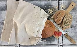 - Vrecúško na chlieb z ručne tkaného ľanu 45x29 - 8055649_