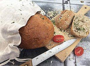 Úžitkový textil - Vrecúško z hrubého ručne tkaného ľanu na chlieb a pečivo 54x29cm - 8055677_