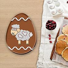 Dekorácie - Grafické čokoládové veľkonočné vajíčko vlnky - ovečka - 8055763_