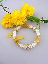Náramky - Royal bracelet - náramok citrín krištál a štras korálky - 8058985_
