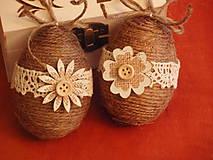 Dekorácie - Jutové veľkonočné vajcia s dreveným kvetom - pár - 8058581_