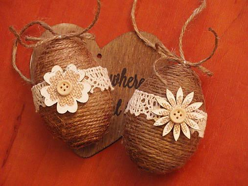 Jutové veľkonočné vajcia s dreveným kvetom - pár