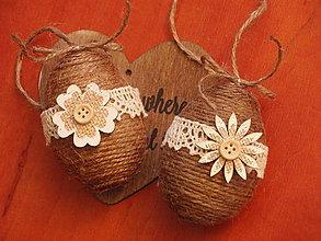 Dekorácie - Jutové veľkonočné vajcia s dreveným kvetom - pár - 8058583_