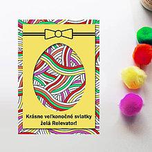 Papiernictvo - Veľkonočné vajíčko - personalizovaná pohľadnica (červíky) - 8059259_