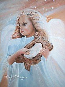 Obrazy - Anjel pokoja - olejomaľba - 8061413_