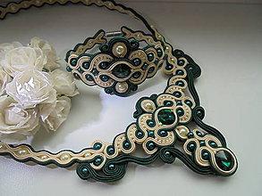 Sady šperkov - Soutache set Dita - tmavozelený - 8060953_